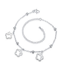 lureme Elegant Silver Plated Three Hollow Blossms Shape Pendant Anklets for Women Barefoot Sandals (06002988)
