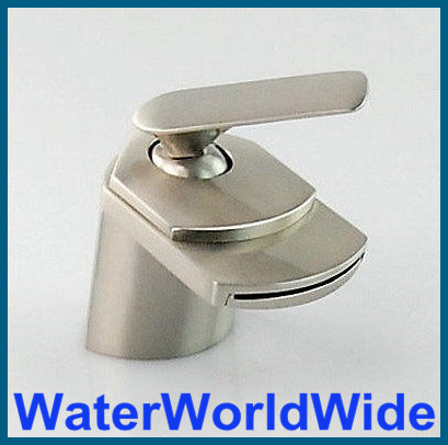 ФОТО Luxury Style Waterfall Bathroom Brushed Nickel Basin Mixer Tap Faucet sink tap