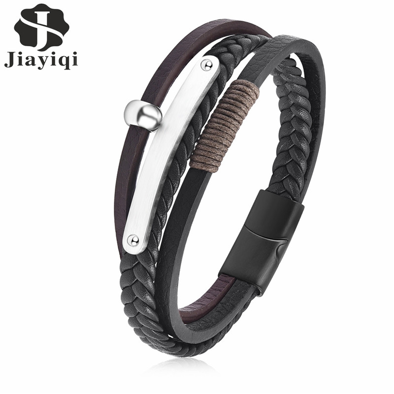 все цены на Jiayiqi Fashion Multilayer Genuine Leather Bracelet for Men Jewelry Stainless Steel Bangle Punk Braid Black Brown Chain Magnetic