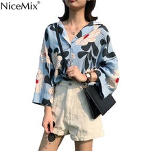 NiceMix Summer Casual Nine Quater Sleeve Floral Shirt Women Blouse V-neck Harajuku Tops And Blusas Camisas Mujer 2019