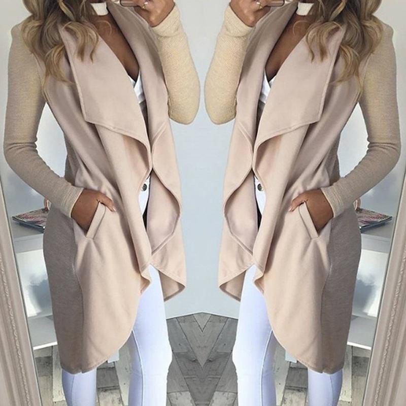 Coat Jacket Outerwear Cardigan Lapel-Collar Autumn Plus-Size Women Long-Sleeve Casual title=
