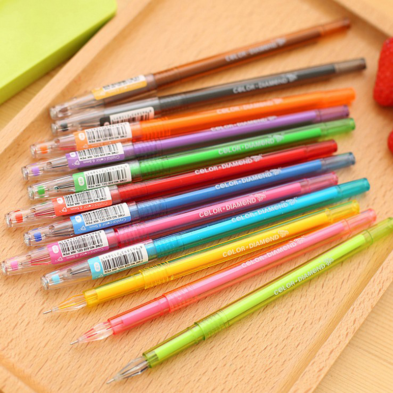 JONVON SATONE 12pcs Korean Stationery Diamondmax Fresh Colorful Candy Color Diamond Pen 12 Resurrect 0.5mm Multicolour Gel Pens