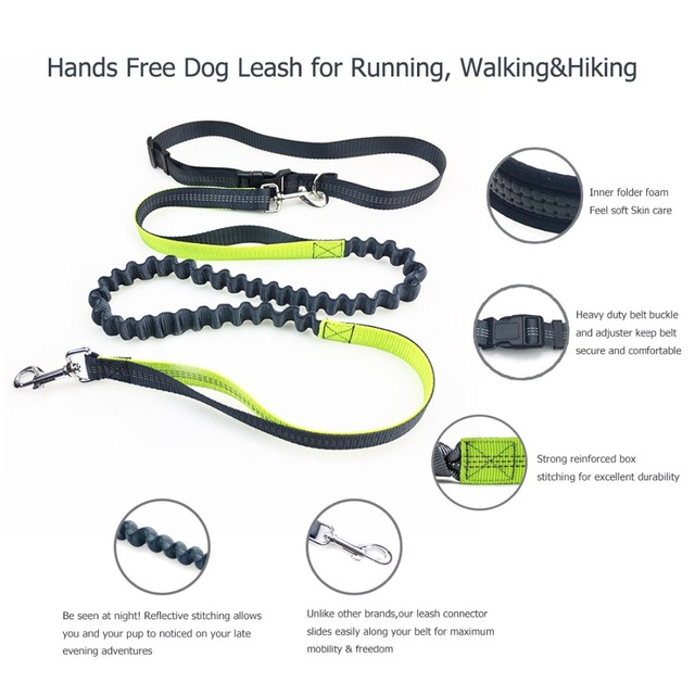 Elastic Waist Dog Leash Running Jogging Dog Sport Product Adjustable Nylon Dog Leash With Reflective Strip Pet Accessories 05S2
