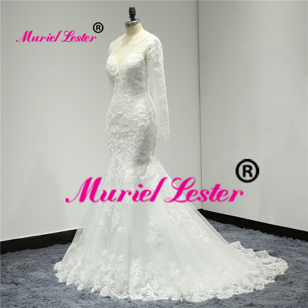 Sexy Illusion Mermaid Long Wedding Dress Plus Size Robe De Mariee 2019 Bridal Gown Long Sleeves Appliques Lace Wedding Dresses