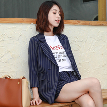 Autumn Striped For Short Pant Jacket Two Pcs Set Female Office Lady Elegant Suit Women