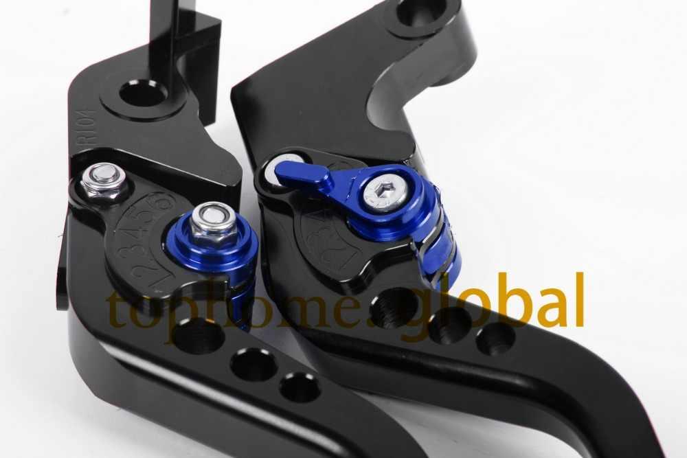 For Yamaha YZF R6 1999 - 2004 Short Black Handlebar CNC Clutch Brake Levers 2000 2001 2002 2003 black levers with blue adjustor