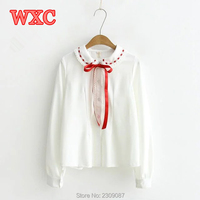 Spring Mori Girls White Shirt Harajuku Peter Pan Collar Red Bow Tie Lace Blouses Preppy Style