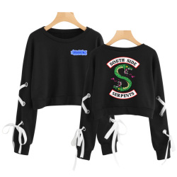 Riverdale 2019 New Women South Side Serpent Sleeve Openwork Bow-Knot Capless Hoodies Women/Men Sweatshirt Sexy Crop Top Clothes 3