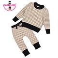 Marca Set Roupas Crianças Grade Crianças Conjuntos 1-5Yrs Camisolas Calças Hallen Calças Do Bebê Menino Camisas de Algodão Pequena Camisola de Malha Terno