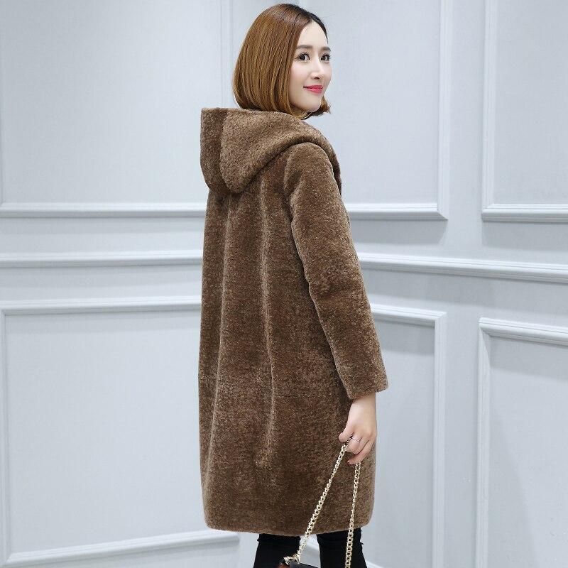 Capuchon Manteaux Vestes Taille Mode Femme Moutons Pour 6xl F11556 Manteau camel Noir Fourrure La Chaud À Femmes Manches Hiver Les De Plus Laine Réel Longues qZazxwfw