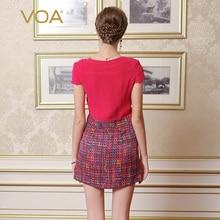 VOA 2017 Summer Rose Red Sexy Splicing Silk Women Short Dress New Fashion Short Sleeve Slim Mini A-line Dress Vestidos A3029