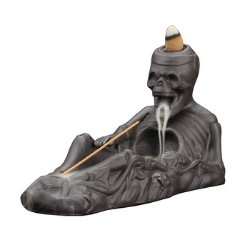 T Pirate Skull Backflow Incense Burners Zisha Ceramic Stick Cones Holders Home Office Decor New Year Gift Tea Pet Ornaments New incense holder stick and cone