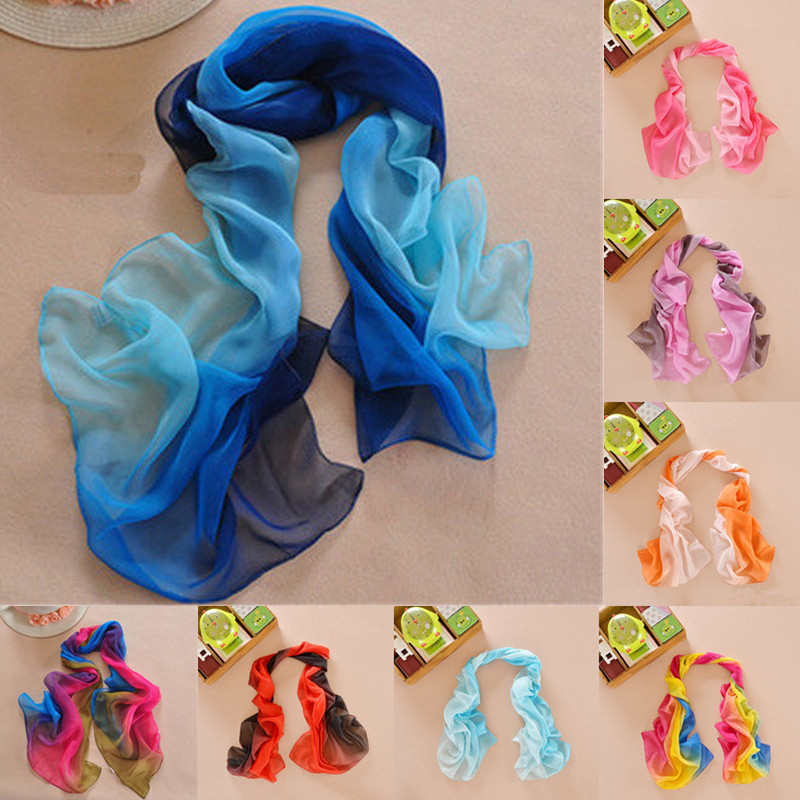 Sale 1Pc 19 Colors 160 50cm Fashion Women Chiffon Scarf Summer New Gradient Color Shawls Scarves