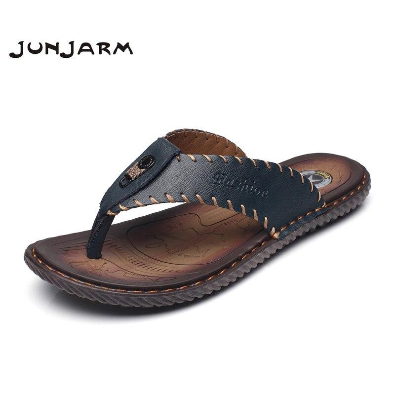 JUNJARM Luxury Brand 2019 New Mens Flip Flops Genuine Leather Men Slippers Summer Fashion Beach Sandals Shoes For Menshoes brandshoes fashionshoes for -