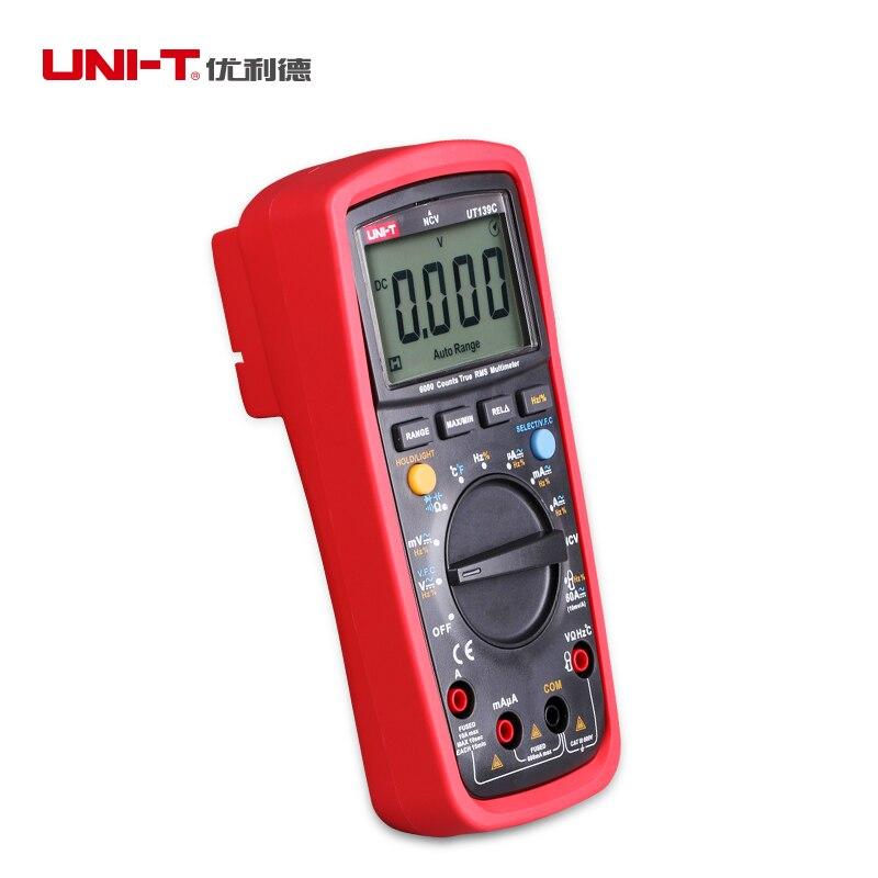 UNI-T UT139C True RMS דיגיטלי מודד אוטומטי/ידני טווח בודק 6000 לספור מד מתח Ohmmeter מד טמפרטורת תדר