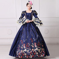 2018 Dark Blue Lace Printed Square Collar Long Flare Sleeve Party Dress Medieval Renaissance Belle Peroid Dresses For Women