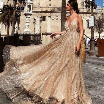 7793a68bb Vestido de fiesta Sexy genuino para mujer con lentejuelas doradas cuello en V  profundo de lujo de tul de noche vestido de novia sin mangas Maxi vestidos  de ...