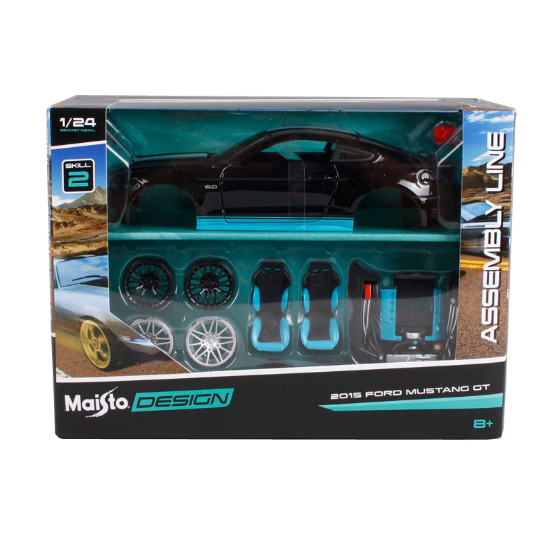 Maisto 1:24 2015 ford mustang gt black assemble car diecast kits vehicle model diecast mannal toy car model for car fans 39305