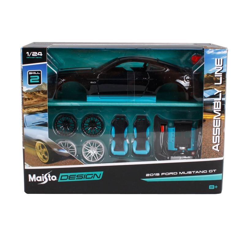 Maisto 1:24 2015 ford mustang gt noir assembler voiture miniature kits véhicule modèle moulé sous pression mannal jouet modèle de voiture pour les fans de voiture 39305