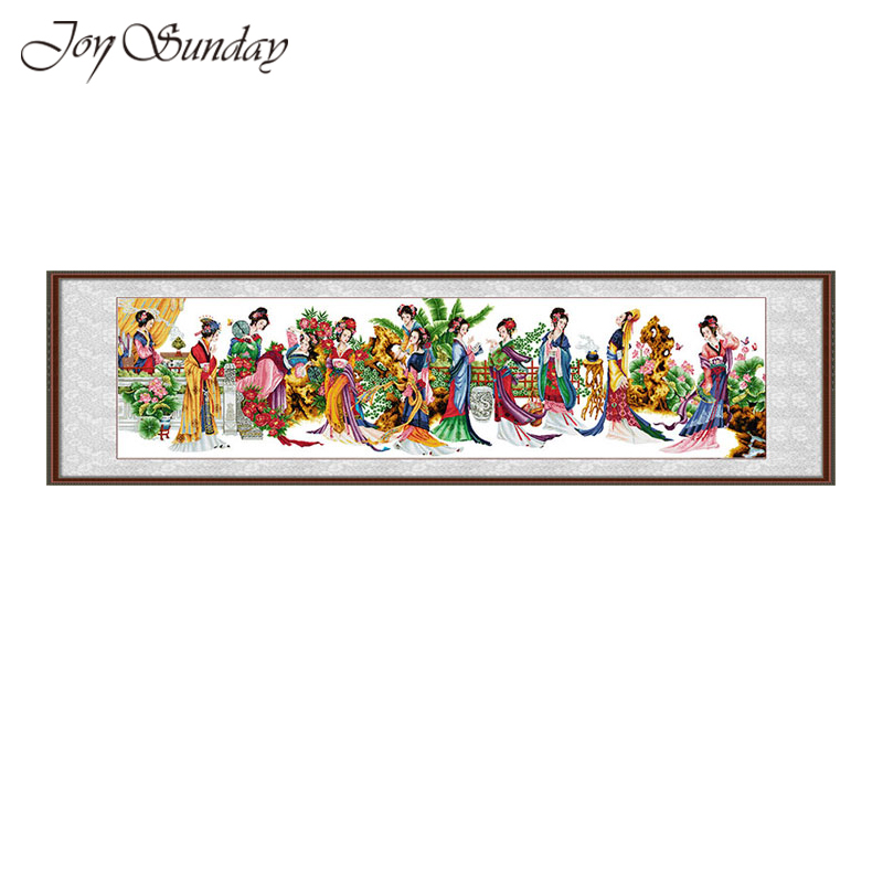 New Arrival Joy Sunday Cross Stitch Kit DMC 11CT 14CT Twelve Jinling ladies Embroidery Needlework Set Printed Pattern Home Decor in Package from Home Garden