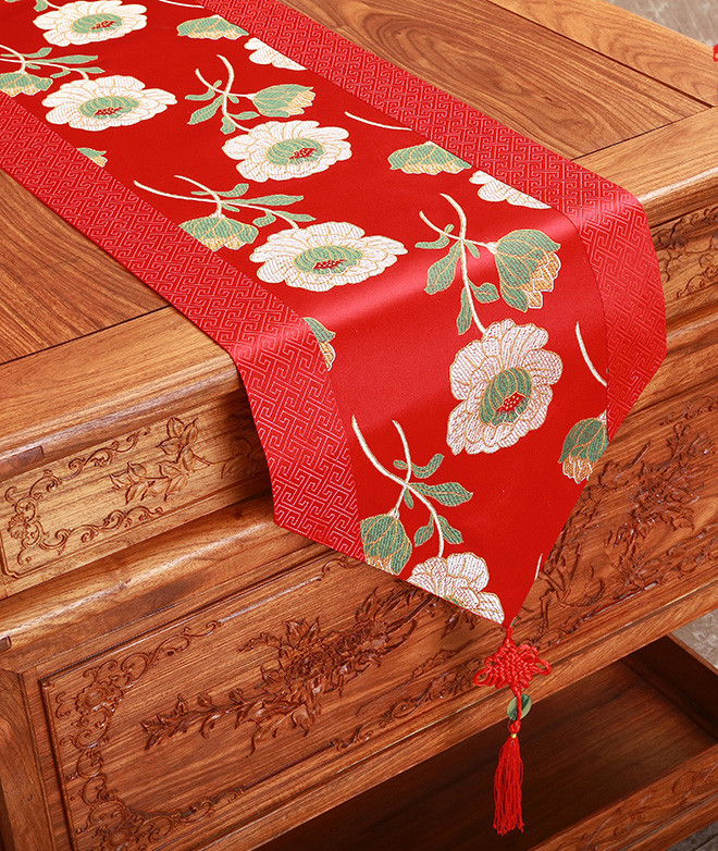 Rustic Jacquard Chinese Knot Silk Table Runner Wedding Dining Table Mat  Vintage Damask Table Cloth Rectangle Table Placemats In Table Runners From  Home ...