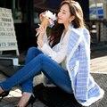 Original de la Marca 2016 de Otoño e Invierno de Color Azul Claro de Oro Botón Ocasional Delgado Largo Abrigo de Lana Chaqueta de Tweed de Las Mujeres Al Por Mayor