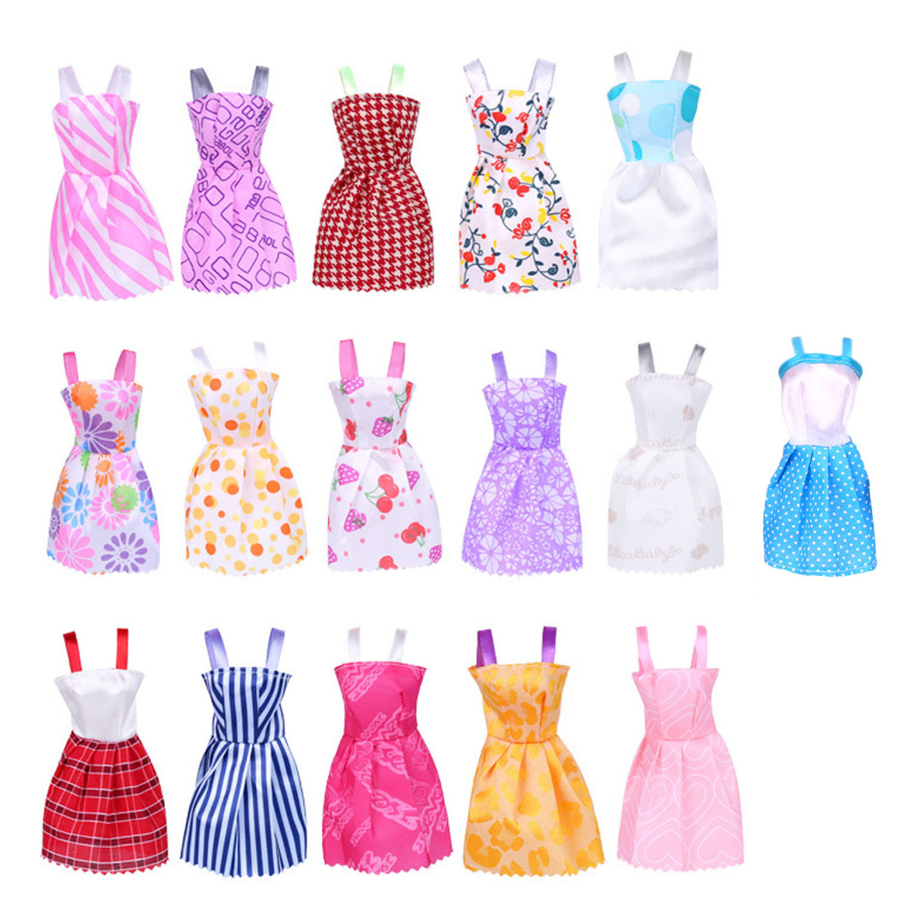 Satkago 16 PCS Fashion Girl Doll Toy Dresses with Shoulder-Straps Gown Outfits Clothes Accessories for Barbie Toys Random Style