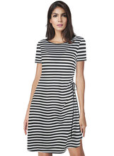 Summer round collar sleeveless dress black white zebra striped casual elegant classy women clothes slim style office