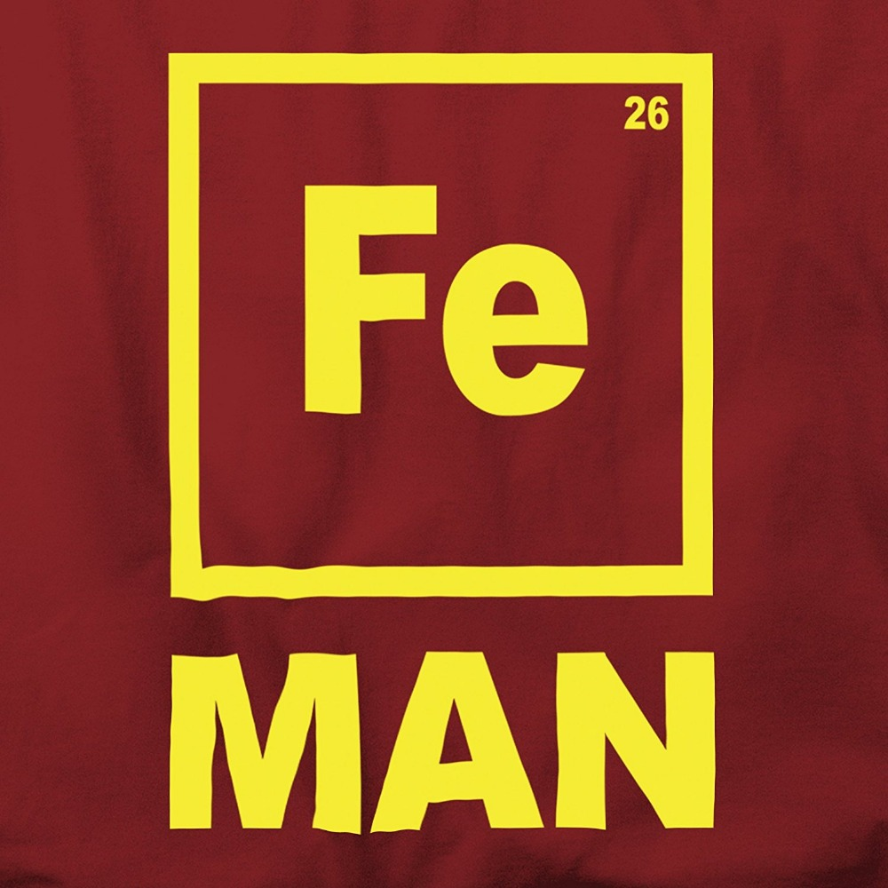 Fe Man Chemistry Periodic Metals Iron Element Mens T Shirt Funny