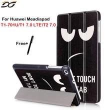 Para Huawei Mediapad 7.0 T1 701/701U tri-fold Funda Tablet huawei mediapad 7.0 T1 T2 7.0 T1-701W T1-701U