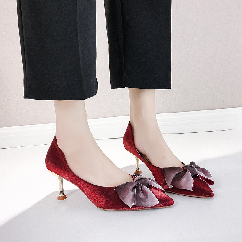 Thin High Heels Sexy Ladies Pumps Women Shoes 2019 Autumn Pointed Toe Bow Knot Shallow Wedding Shoes Woman Pumps Office Shoes 30