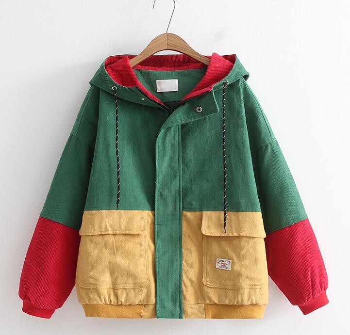 Hip Hop à capuche lâche veste femmes hiver velours côtelé veste Harajuku rouge Patchwork automne à capuche blouson manteau Reggae jamaïque