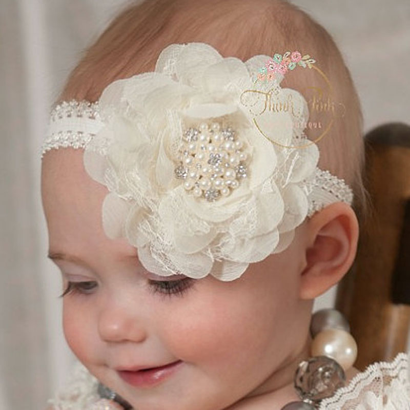 Girl Lace Pearl peony Flower Headband Wide Band Hairband Soft Elastic Hair Band Headwear Hair Accessories 1pc metting joura bohemian cream lace flower pearl crystal rhinestone headband hairdband hair accessories