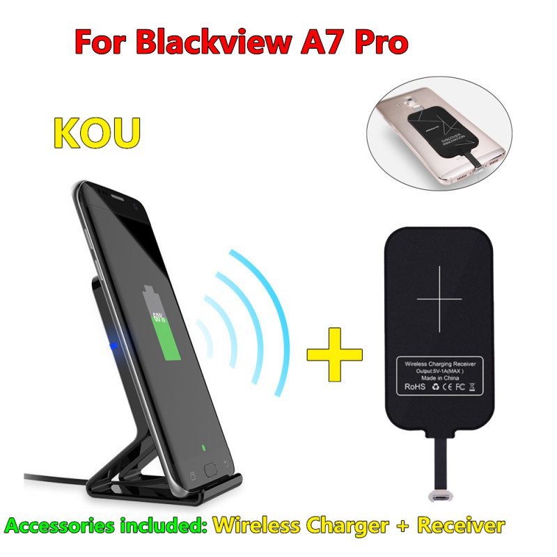 10W Original Qi Wireless Charger for Blackview A7 Pro Charging Pad with Dual USB Charging Adapter for Blackview A7 Pro USB