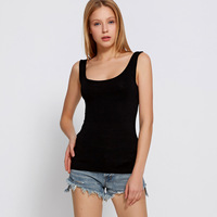 2018 New Products Fashion Summer Casual Tnaks Top Deep U Neck Sleeveless High Quality Modal Tops