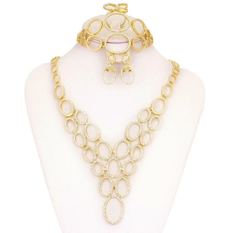 Liffly 2017 Fashion Dubai African Crystal Gold Jewelry