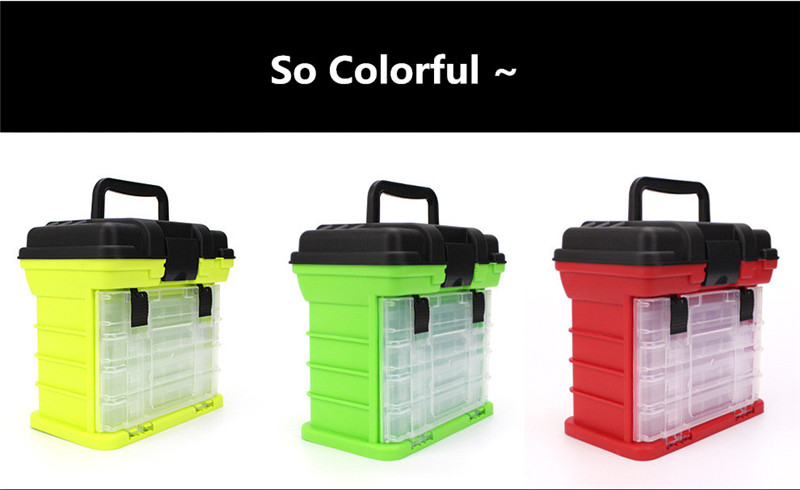 New 4 Layers Fishing Tackle Box Strong ABS Plastic Fishing Tools Container Big Fishing Accessories Box 27x17x26cm 4 Colors (18)