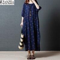 Tops Blusas ZANZEA Women 3 4 Lantern Sleeve Cotton Linen Summer Beach Evening Party Long Maxi