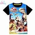 Новый 3-9Y летом детская tee мода динозавров и Человек-Паук стиль мальчики футболки классический Миру Юрского и парк шорты для детей-мальчиков