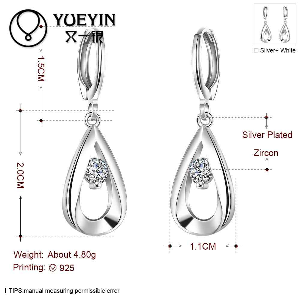 Wholesale Silver plated Dangle Earrings for Women Wedding Jewelry Long Earrings Factory Price Zircon Jewelry E614