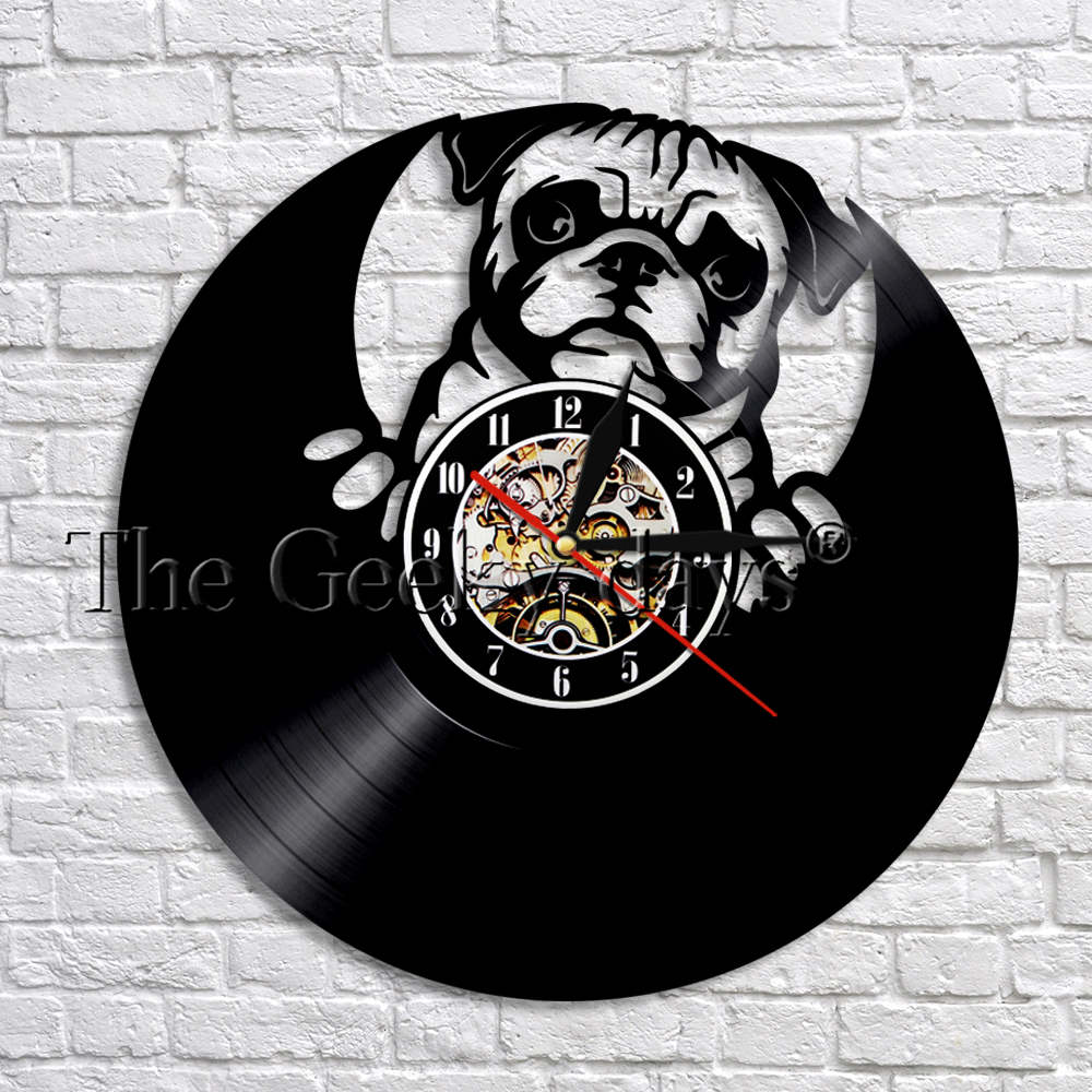 9e475ea8ef0 Compre Fumar Bulldog Relógio Pouco Pug Relógio De Parede Do Cão ...
