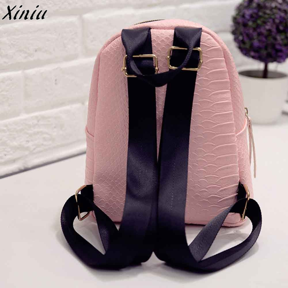 Women Backpacks Solid Color Leather Casual Vintage Travel Bagpack Back Pack  Girls Simple Fashion Schoolbags Sac A Dos  8801-in Backpacks from Luggage    Bags ... 4665f3e7e5635