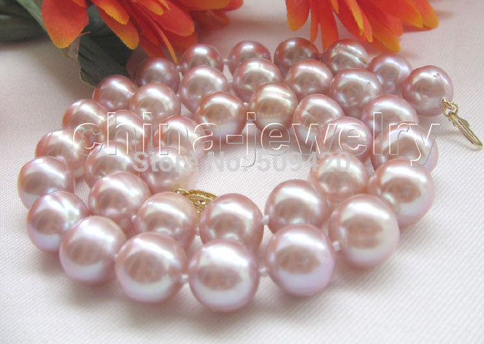 FREE SHIPPING HOT Gorgeous luster 17.5 12mm purple round freshwater pearl necklaceFREE SHIPPING HOT Gorgeous luster 17.5 12mm purple round freshwater pearl necklace