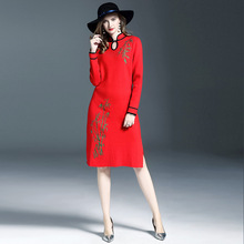 High Quality Vintage Dress Women 2017 Autumn Wool Knitted Dresses Pullover Elegant Embroidery Winter Red Sweater Dress Vestidoes