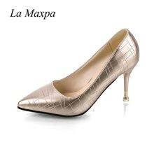 05e5cb246 La MaxPa 2018 Туфли из искусственной крокодиловой кожи женские офисные  красной подошвой очень высокий каблук трещины