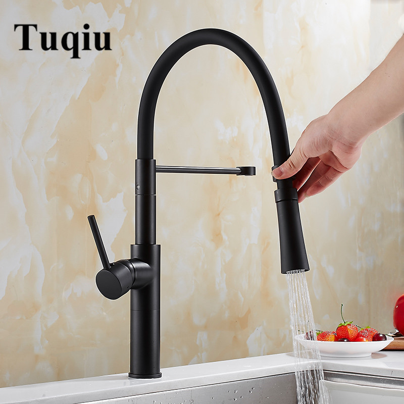 купить Pull Out Sprayer Black Brass Kitchen Faucet with Shower Head Swivel Vessel Sink Mixer Tap Cozinha Rotating Kitchen Sink Faucet недорого