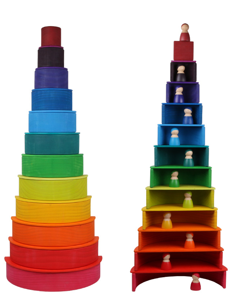 Wooden-Toys Building-Blocks Educational-Toy Montessori Rainbow Stacker Baby Creative