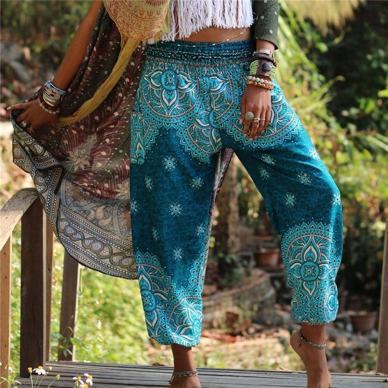 Boho Harem Femme Sarouel Pantalons Women   Wide     Leg     Pants   Pleated Elasticated Waist Summer Party Wear