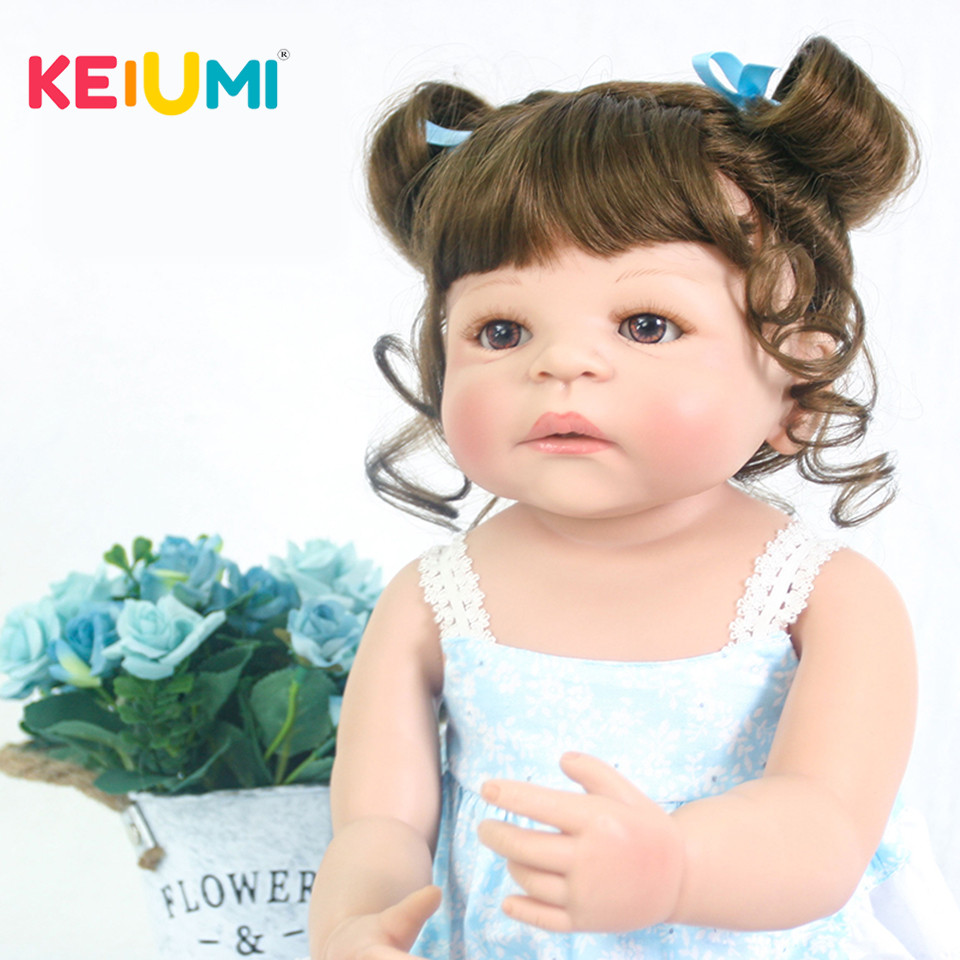 цена Lifelike 23 Inch Princess Twins Reborn Babies Girl Dolls For kids Playmates 57 cm KEIUMI Newborn Baby Doll 2018 Birthday Gifts