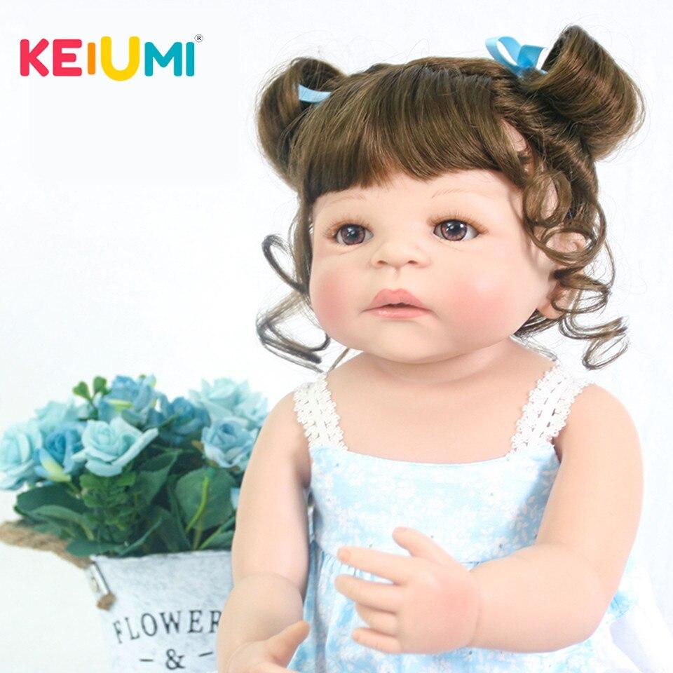 Realistico 23 pollice Principessa Twins Reborn Neonati Ragazza Bambole Per i bambini Compagni di 57 cm KEIUMI Appena Nato Del Bambino Bambola 2018 Di Compleanno regali